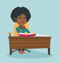 African student sitting at the table and thinking vector