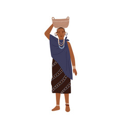 african tribal woman holding basket on head young vector image