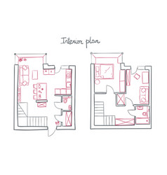 architectural simple plan of modern vector image