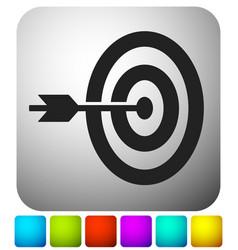 Arrow hitting target at center icon precision vector