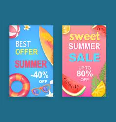 Best offer summer set poster vector