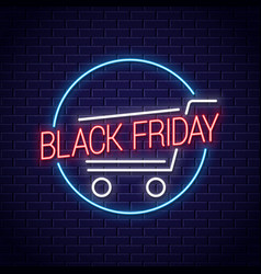 black friday neon banner shopping cart for black vector image