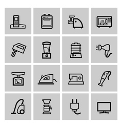 black home appliances icons set vector image