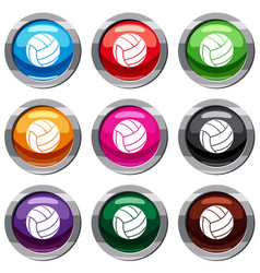 black volleyball ball set 9 collection vector image