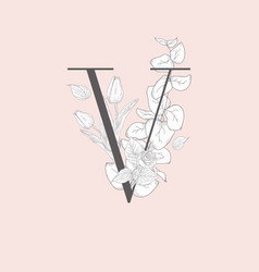 Blooming floral elegant v monogram and logo vector