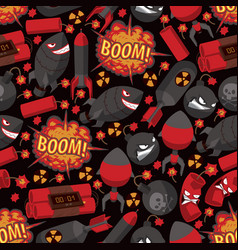 bomb explosion seamless pattern weapon vector image