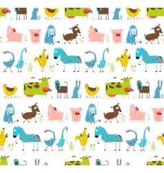 Bright Fun Cartoon Farm Domestic Animals Seamless vector image