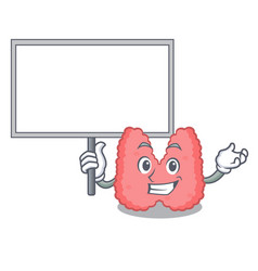 Bring board thyroid character cartoon style vector