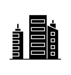 Business building black glyph icon vector