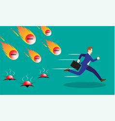 businessman running from negativity meteors vector image