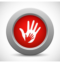 Caring hands red button vector image