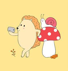 cartoon cute autumn snail and hedgehog vector image
