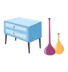 chest drawers with modern vases interior vector image