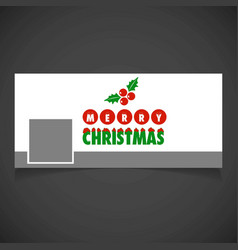 Christmas card with cherries social media cover vector