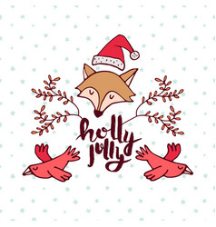 christmas forest fox cartoon holiday greeting card vector image