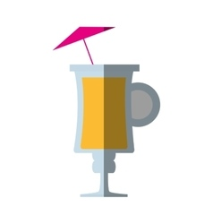 Cocktail glass cup with umbrella shadow vector