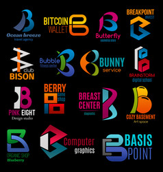 Corporate identity creative letter b icons signs vector