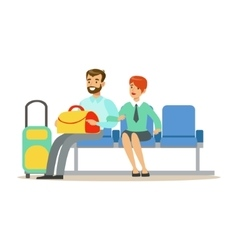 Couple Waiting For A Flight In Waiting Area Part vector image