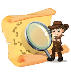 Detective and magnifying glass vector