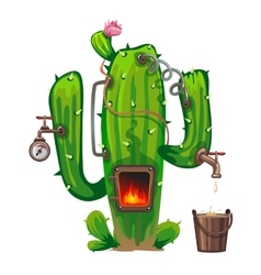 Device of cactus cooking alcoholic beverage vector image