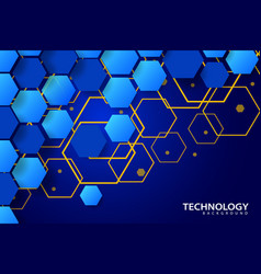 Digital technology background with hexagonal vector