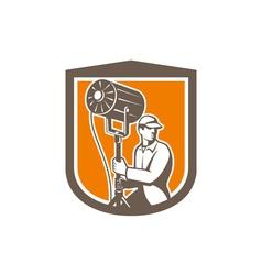 Electrical Lighting Technician With Spotlight vector