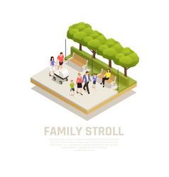 Family stroll concept vector