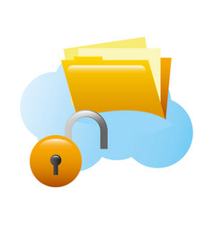 folder document with padlock and cloud computing vector image