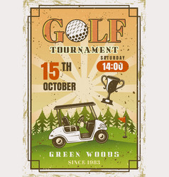 golf vintage colored poster with car on field vector image
