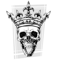 Graphic black and white human skull with crown vector