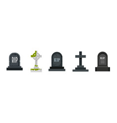 grave icon set flat style vector image