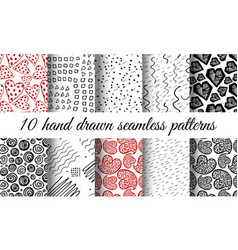 hand drawn heart seamless pattern vector image