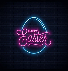 Happy easter neon sign easter egg neon banner vector