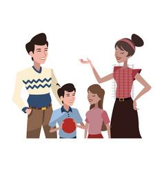 Happy family cartoon icon vector