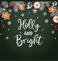 holly and bright christmas greeting card vector image