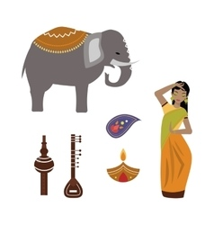 India animals and woman icons vector