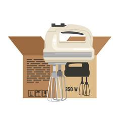 Kitchen hand mixer box pack design vector