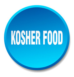 Kosher food blue round flat isolated push button vector