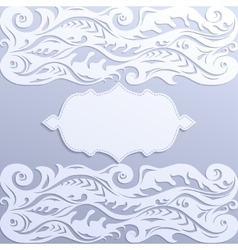Lace paper greeting card with frame vector