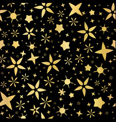 Luxe gold on black starry night sky seamless vector