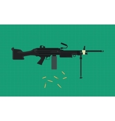 machine gun single isolated with green background vector image