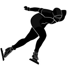Male athlete speed skating vector
