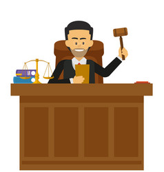 Male judge working at the court vector