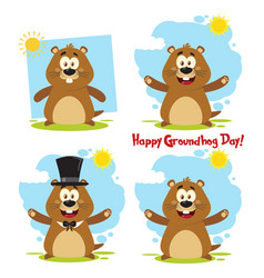 marmot cartoon character collection - 1 vector image