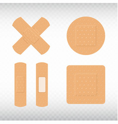 medical adhesive plasters set on transparent vector image