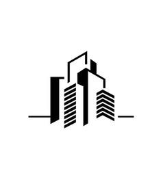 modern creative simple square line art building vector image