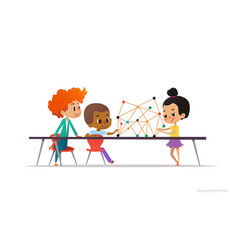 multiracial boys and girl standing and sitting vector image vector image