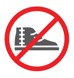 No footwear glyph icon prohibited and forbidden vector