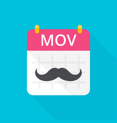 November movember calendar with vintage curly vector