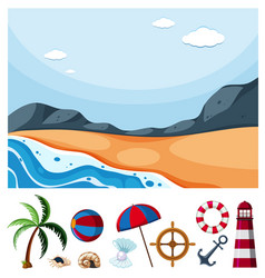 ocean scene with different beach items vector image